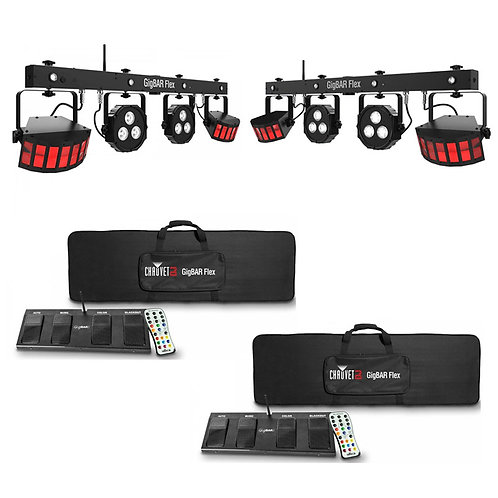 Pair of Chauvet GigBar Flex all in one lighting and laser system for DJs, discos and bands