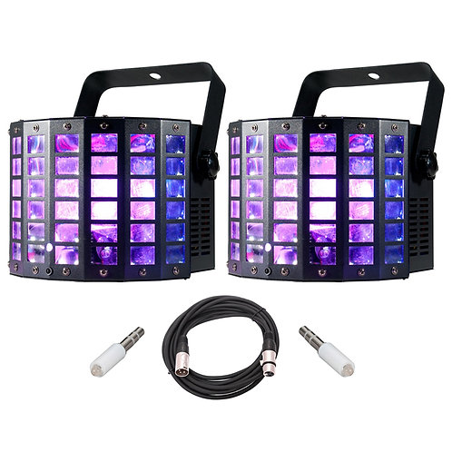 2x AMERICAN DJ ADJ MINI DEKKER LZR 2-IN-1 LED MOONFLOWER LIGHTS + LASERS + LEAD