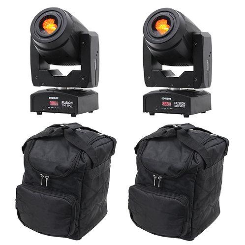 2x EQUINOX FUSION 100 SPOT MKII 160W LED MOVING HEAD GOBO SPOT DISCO LIGHT + BAG