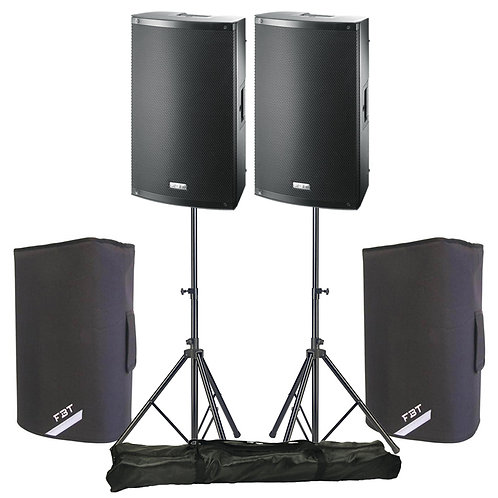 "2x FBT X-LITE 12A 12"" 2000W POWERED PA SPEAKERS WITH COVERS + STANDS"
