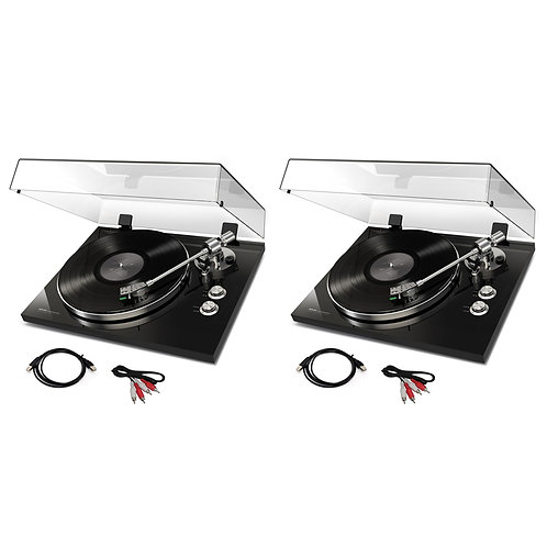 2x AKAI BT500 BLACK HI-FI TURNTABLE RECORD PLAYER + BLUETOOTH + CART + SOFTWARE