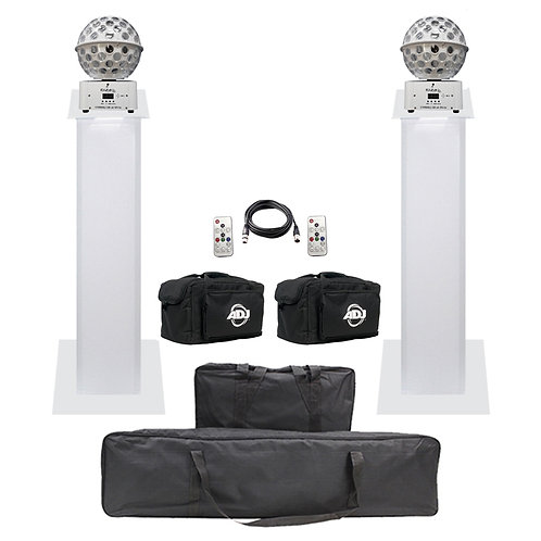 2x IBIZA LIGHT STARBALL-GB WHITE + BAGS +DMX LEAD + EQUINOX 1m PLINTH PODIUM KIT
