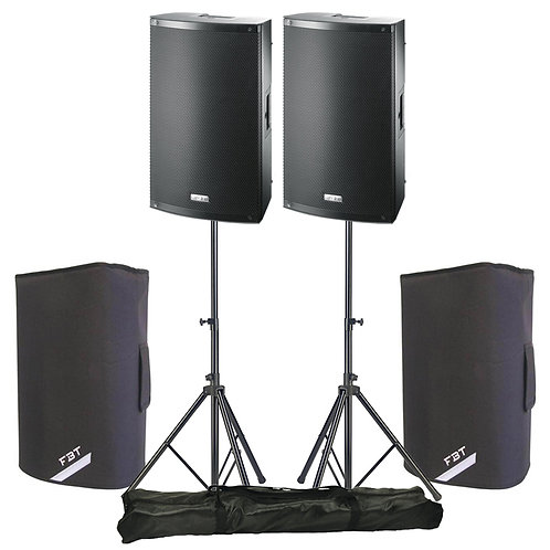 """2x FBT X-LITE 10A PROFESSIONAL 10"""" 2000W POWERED PA SPEAKERS + STANDS + COVERS"""