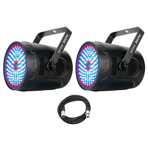 2x AMERICAN DJ ADJ RAYZER LED PAR CAN WASH LIGHT + RGB PATTERN LASER + DMX LEAD