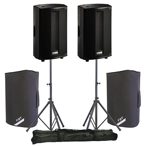 "2x FBT PROMAXX 110A 10"" 3600W POWERED ACTIVE PA SPEAKER DJ BAND +STANDS +COVERS"