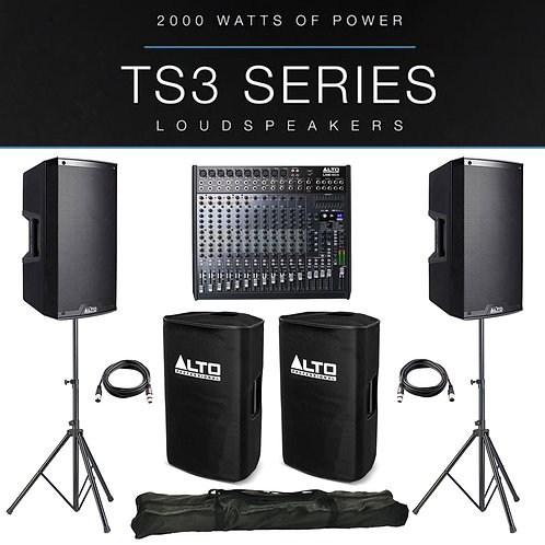 2x ALTO TS312 4000W ACTIVE PA SPEAKER PACKAGE +COVERS +STANDS +LIVE 1604 MIXER