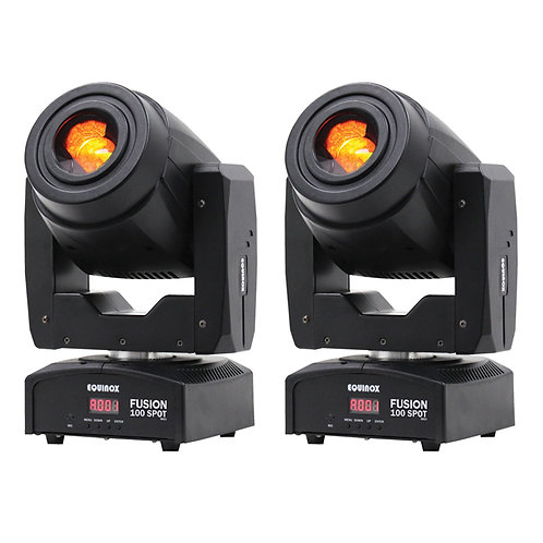 2x EQUINOX FUSION 100 SPOT MKII 160W LED MOVING HEAD GOBO & SPOT LIGHT DJ DISCO