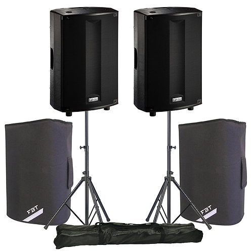 "2x FBT PROMAXX 114A 14"" 3600W ACTIVE PA SPEAKER DJ DISCO BAND + STANDS + COVERS"