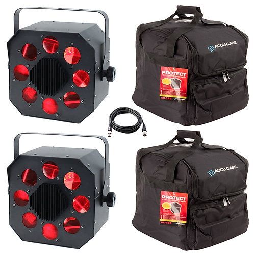 2x EQUINOX SHARD 120W RGBW LED MOONFLOWER LIGHT DJ DISCO CLUB BEAM FX +LEAD +BAG