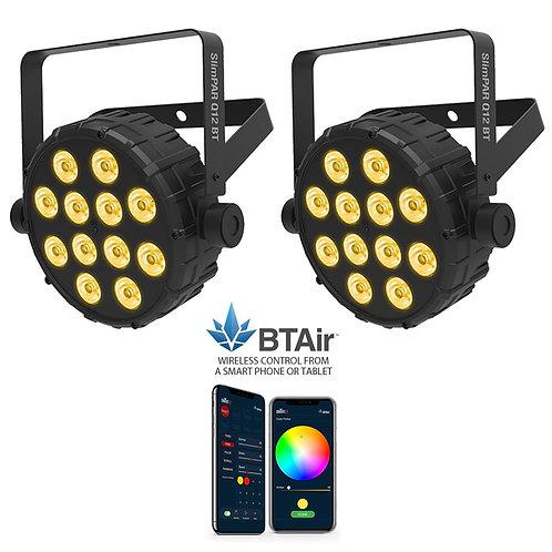 2x CHAUVET SLIMPAR Q12 BT 84W RGBA LED PAR CAN WASH LIGHT +WIRELESS LIGHTING APP