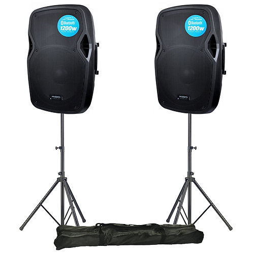 "2x KAM RZ15A V3 BLUETOOTH 2400W 15"" POWERED PA SPEAKER + USB MP3 PLAYER + STANDS"