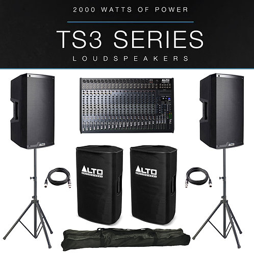 2x ALTO TS312 4000W ACTIVE PA SPEAKER PACKAGE +COVERS +STANDS +LIVE 2404 MIXER