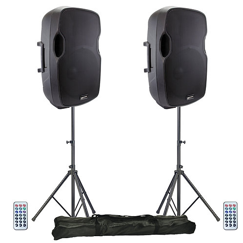 "2x GEMINI AS-15BLU 15"" 4000W POWERED BLUETOOTH PA SPEAKERS + USB SD MP3 + STANDS"