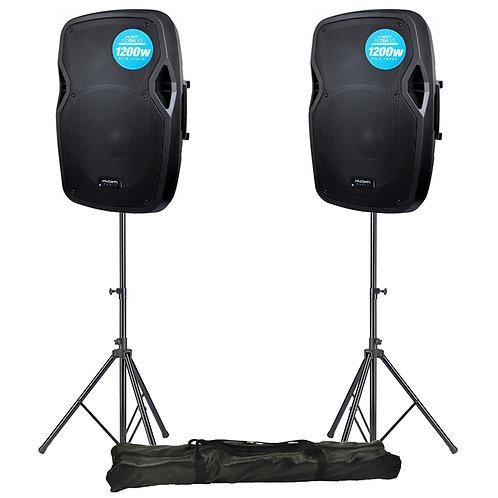 "2x KAM RZ15A V3 2400W 15"" POWERED ACTIVE PA SPEAKER + STANDS DJ DISCO BAND CLUB"