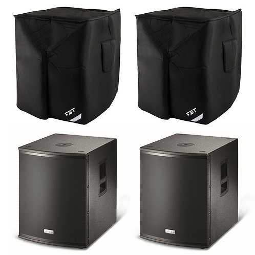 """2x FBT X-SUB 15SA 15"""" 2400W ACTIVE POWERED PA SUBWOOFER BASS SPEAKER SUB + COVER"""