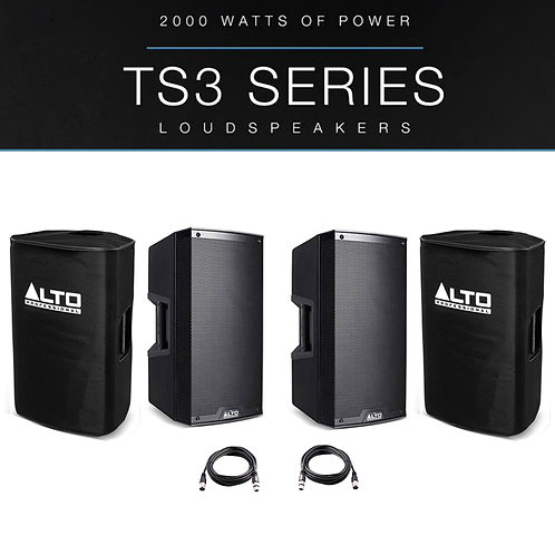 "2x ALTO TS315 15"" 4000W POWERED ACTIVE PA SPEAKER DJ DISCO BAND + COVERS + LEADS"