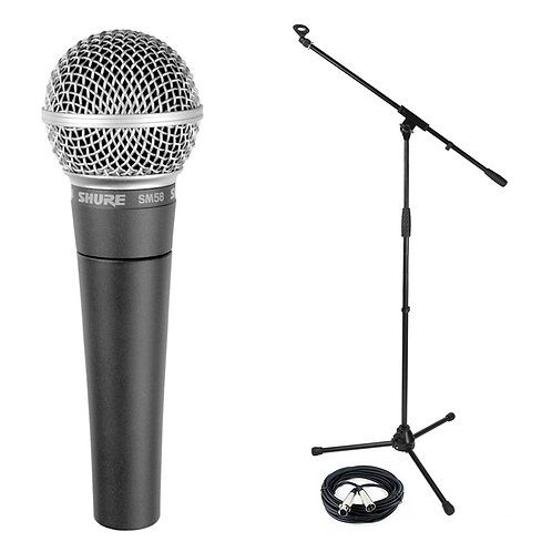 SHURE SM58 DYNAMIC HANDHELD LIVE VOCAL MICROPHONE + STAND + LEAD HIRE