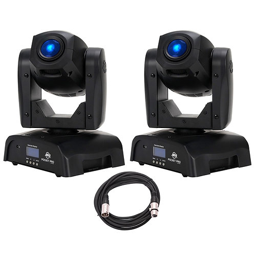2x AMERICAN DJ ADJ POCKET PRO LED MOVING HEAD GOBO + SPOT LIGHTS + DMX LEAD