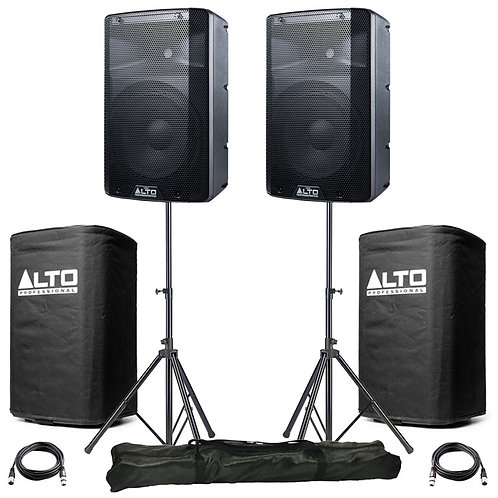 """2x ALTO TX210 10"""" 600W POWERED ACTIVE PA SPEAKER DJ BAND +LEADS +STANDS +COVERS"""