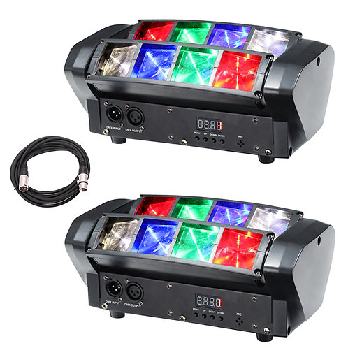 2x EQUINOX ONYX RGBW LED TWIN SWEEPING BEAM FX DJ DISCO BAND LIGHT + DMX LEAD