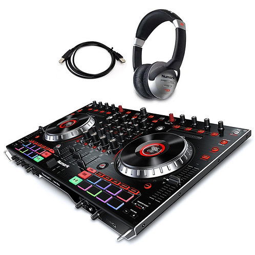 NUMARK NS6II 4-CHANNEL DUAL USB CONTROLLER + SERATO DJ SOFTWARE + HEADPHONES