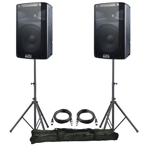 """2x ALTO TX210 10"""" 600W POWERED ACTIVE PA SPEAKER DISCO BAND + XLR LEADS + STANDS"""