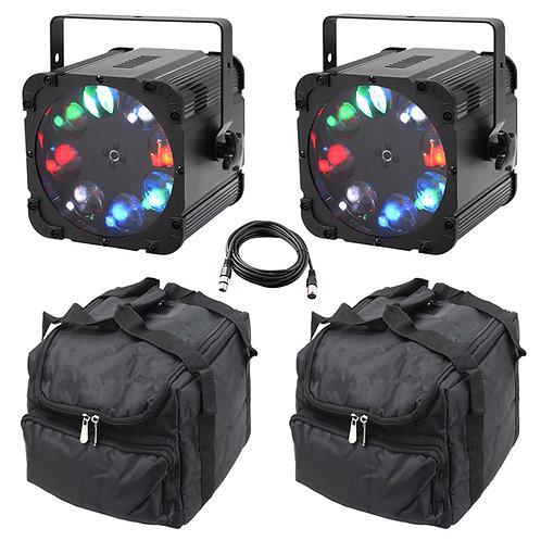 2x EQUINOX CROSSFIRE XP 160W RGBW LED GOBO LIGHT DJ DISCO LIGHTING + LEAD + BAGS