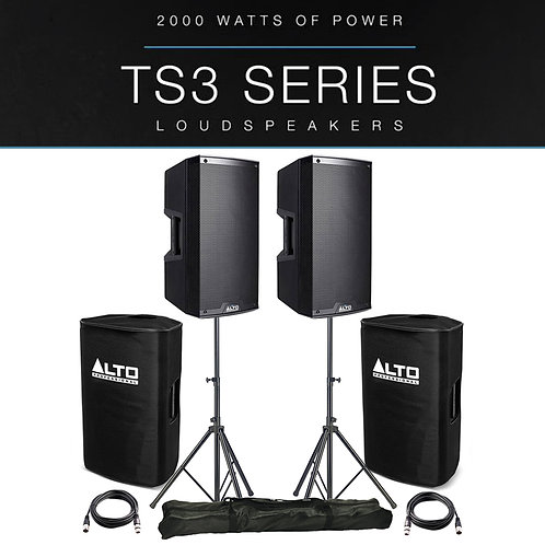 """2x ALTO TS312 12"""" 4000W POWERED ACTIVE PA SPEAKER DJ BAND +COVERS +STANDS +LEADS"""
