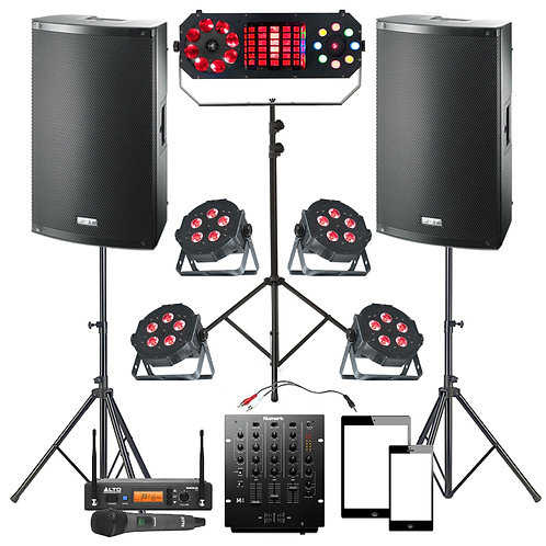 PLUG & PLAY WEDDING DISCO PACKAGE HIRE 2000W SPEAKERS + MIXER + LIGHTING + MIC