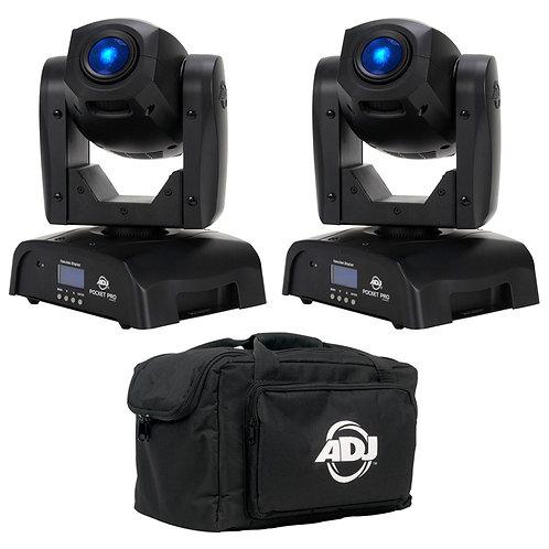 2x AMERICAN DJ ADJ POCKET PRO LED MOVING HEAD GOBO + SPOT LIGHT DJ DISCO + BAG