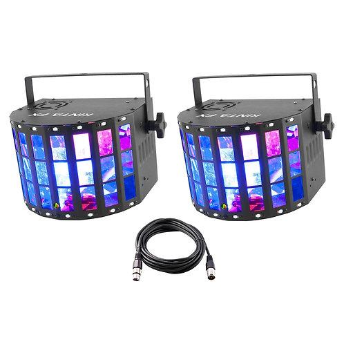 2x CHAUVET DJ KINTA FX 3-IN-1 LED DERBY STROBE LASER LIGHT DISCO LIGHTING + LEAD