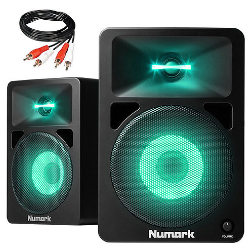"""NUMARK N-WAVE 580L 5"""" 40W POWERED STUDIO OR LIVE MONITOR SPEAKERS WITH LIGHT FX"""