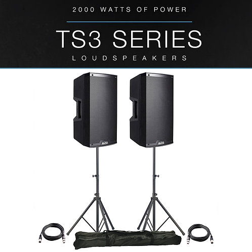 "2x ALTO TS312 12"" 4000W POWERED ACTIVE PA SPEAKER DISCO DJ BAND + STANDS + LEADS"