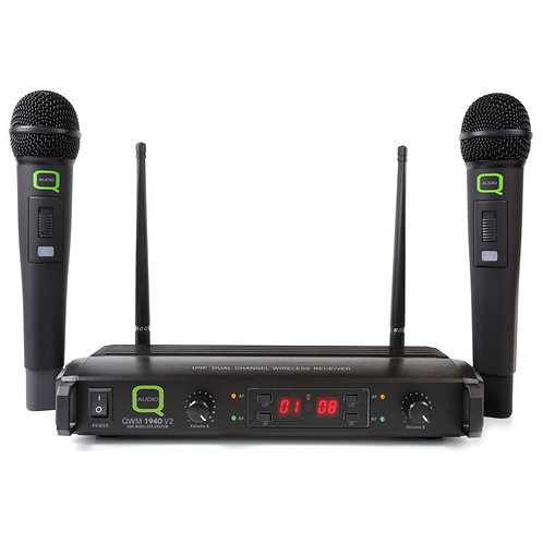 Q-AUDIO QWM1940 V2 HH UHF 16 CHANNEL DUAL WIRELESS HANDHELD MICROPHONE SYSTEM