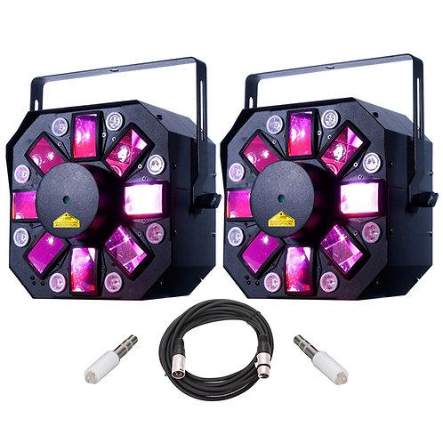 2x AMERICAN DJ ADJ STINGER II MOONFLOWER + STROBE + UV LED LIGHT + LASER + LEAD