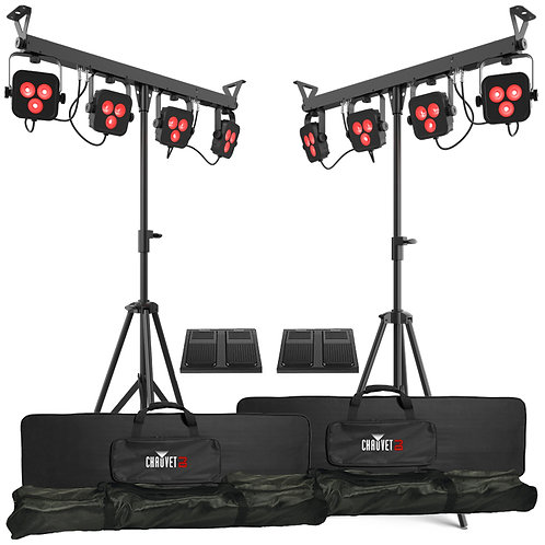 2x CHAUVET 4BAR LT BT PAR CAN WASH LIGHT SYSTEM BAND LIGHTING + BAG + FOOTSWITCH