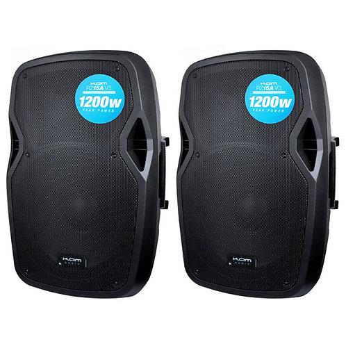 "2x KAM RZ15A V3 2400W 15"" POWERED ACTIVE PA SPEAKER WITH EQ DJ DISCO BAND CLUB"