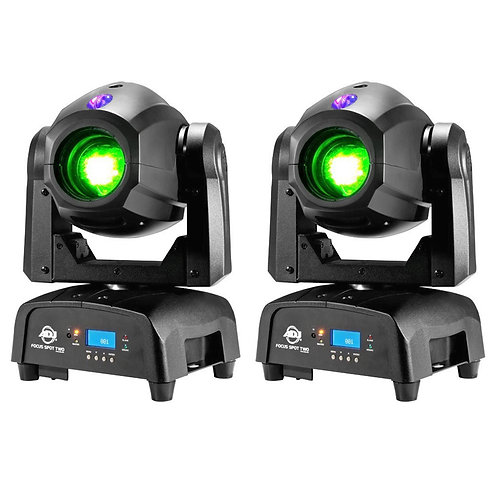 2x AMERICAN DJ ADJ FOCUS SPOT TWO 78W LED MOVING HEAD GOBO DISCO CLUB LIGHT + UV