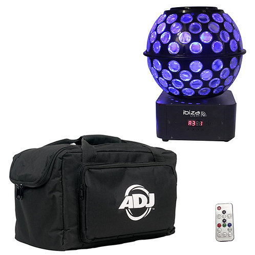 IBIZA LIGHT STARBALL-GB ROTATING GOBO + BEAM FX LED MIRRORBALL DJ DISCO DMX +BAG