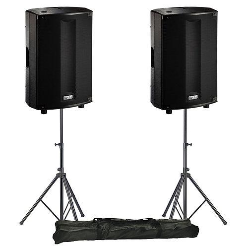 "2x FBT PROMAXX 114A PRO 14"" 3600W POWERED PA SPEAKER DJ DISCO BAND + STANDS"