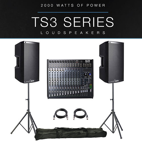 2x ALTO TS312 4000W ACTIVE PA SPEAKER PACKAGE + LEADS + STANDS + LIVE 1604 MIXER