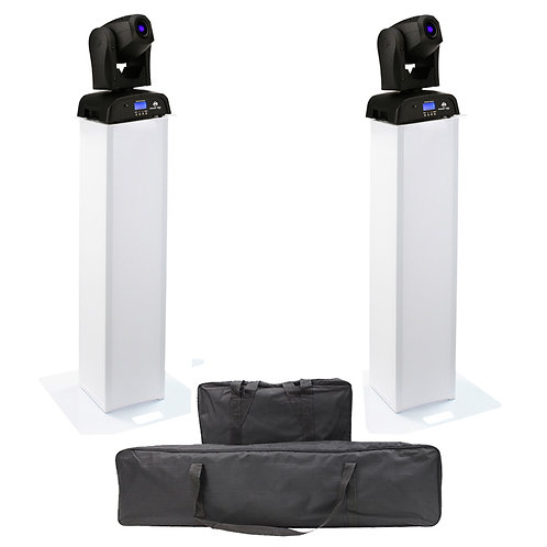 2x AMERICAN DJ ADJ POCKET PRO LED MOVING HEAD LIGHT + EQUINOX 1m PLINTH PODIUM