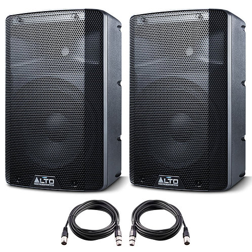 "2x ALTO TX210 10"" 600W POWERED ACTIVE PA SPEAKER OR STAGE MONITOR DJ BAND +LEADS"