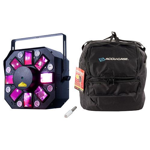 AMERICAN DJ ADJ STINGER II 3-IN-1 MOONFLOWER + UV HEX LED LIGHT + LASER FX + BAG
