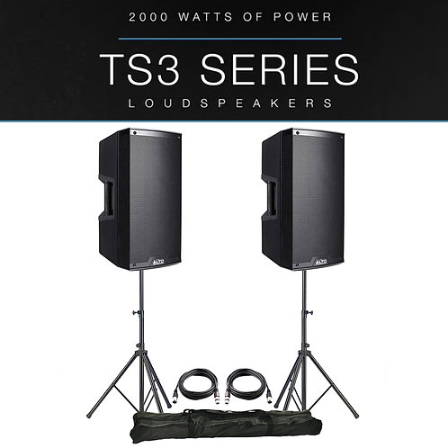"""2x ALTO TS315 15"""" 4000W POWERED ACTIVE PA SPEAKER DJ DISCO BAND + STANDS + LEADS"""