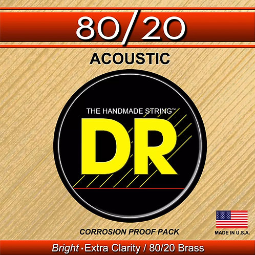 DR HI-BEAM 80/20 HANDMADE MEDIUM ACOUSTIC GUITAR STRINGS FOR A BRIGHT SOUND