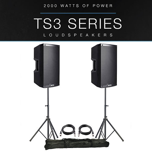 "2x ALTO TS310 10"" 4000W POWERED ACTIVE PA SPEAKER MONITOR DJ BAND +STANDS +LEADS"
