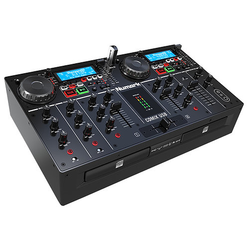 NUMARK CDMIX USB PRO DUAL TWIN CD USB MP3 DJ MEDIA PLAYER WITH 2-CHANNEL MIXER