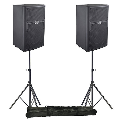 """2x PEAVEY PVX 10 10"""" 1600W PASSIVE PA SPEAKER OR MONITOR BAND CLUB BAR + STANDS"""