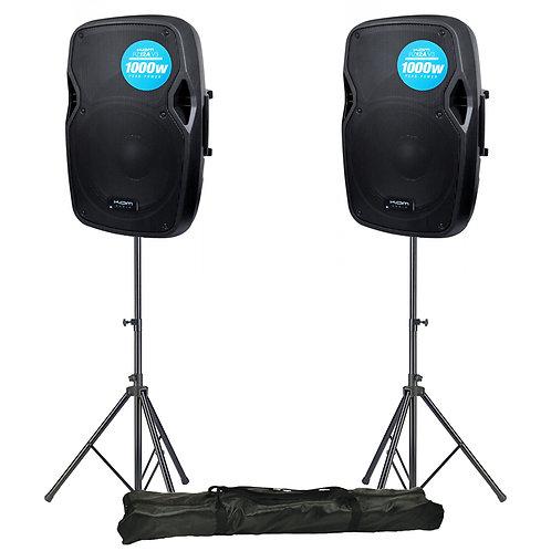 "2x KAM RZ12A V3 2000W 12"" POWERED ACTIVE PA SPEAKER + STANDS DJ DISCO BAND CLUB"